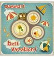 summer vacation card in vintage style vector image vector image