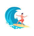 surfer on wave flat young man on surfboard vector image vector image