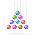Ten multicolored christmas balls vector image