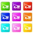 truck crane set 9 vector image vector image