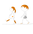 two kids going to school vector image vector image