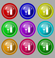 Wine Icon sign symbol on nine round colourful vector image vector image