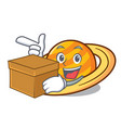 with box planet saturnus character cartoon vector image vector image