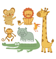 Cute exotic animals vector image