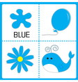 Learning blue color Balloon flower and whale vector image