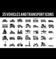 35 vehicle and transport solid icons vector image
