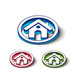 3d glossy home icon vector image