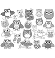 Amusing and funny owls black outlines vector image vector image