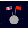 another side moon flag china and us two vector image vector image