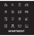 apartment editable line icons set on black vector image vector image