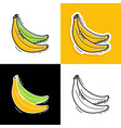 banana set hand drawn doodle banana icon vector image vector image