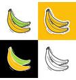 banana set hand drawn doodle icon vector image