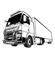 black and white lorry big rig truck vector image