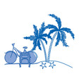 blue shading silhouette of landscape in beach with vector image vector image