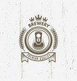 brewery vintage label with beer can vector image