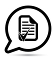 bubble with document accept icon vector image vector image
