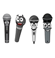 Cartoon happy wireless microphones characters vector image vector image