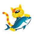 cat with fish in paws vector image