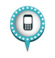 cell phone in circular speech with blue contour vector image