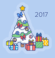 Christmas tree with gifts. vector image vector image