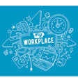 colorful of white office objects with text o vector image vector image