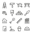 construction tools line icons set vector image