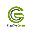 creative green initial letter cg gc c logo vector image vector image