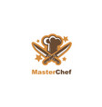 crossed knives and chef hat vector image vector image