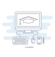 e-learning and e-education icon - distant vector image vector image