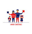 flat cartoon boy girl family characters merry vector image vector image