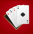 four aces in five playing card winning poker hand vector image
