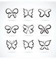 group hand drawn butterfly on white background vector image vector image