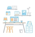 Hand drawn office workspace minimalistic linear vector image vector image