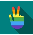 Hand in rainbow flag colors making the V sign icon