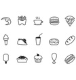 junk food fast food outline icons set vector image