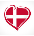 love denmark emblem with heart in flag colors vector image