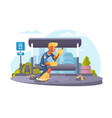 man cleaning bus stop vector image