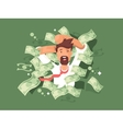 Man in a pile of money vector image vector image