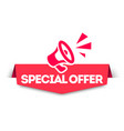 modern red banner special offer with megaph vector image