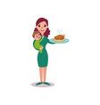 mother holding roasted chicken in one arm and baby vector image vector image
