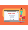 Online shopping girl Business cartoon concept vector image