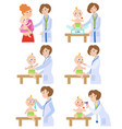 pediatrician doctor working with baby infant vector image vector image