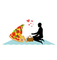Pizza on picnic Rendezvous in Park piece of pizza vector image vector image