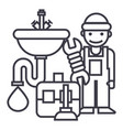 plumber servicetoolssink line icon sign vector image vector image