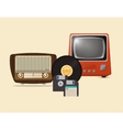 retro hipster radio vinyl record floppy disk and vector image