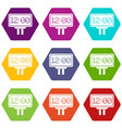 scoreboard icon set color hexahedron vector image vector image