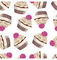 seamless pattern of chocolate cakes vector image