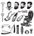 set of barbershop design elements scissors vector image