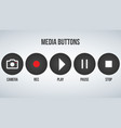 set of round black camera media buttons isolated vector image