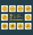 set of ten different cryptocurrency icons on a vector image vector image